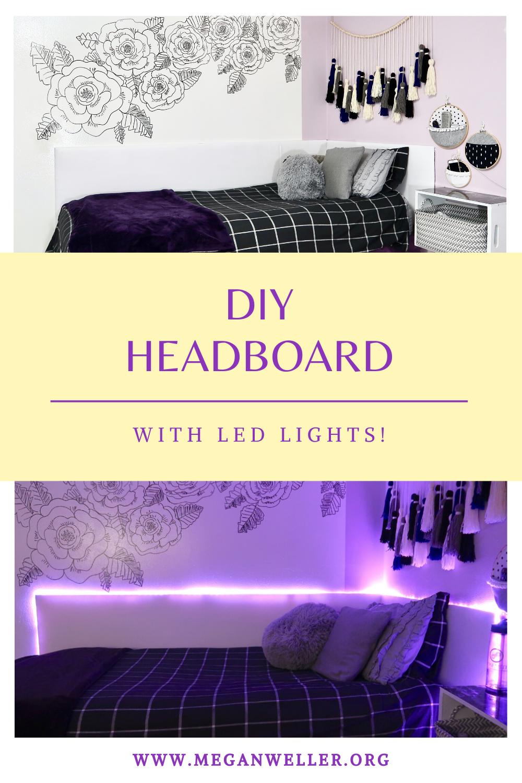 DIY LED Light Up Headboard Pinterest Graphic.