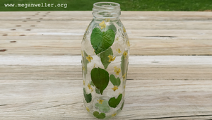 Finished pressed flower vase - an easy recycled craft to try when you're bored!