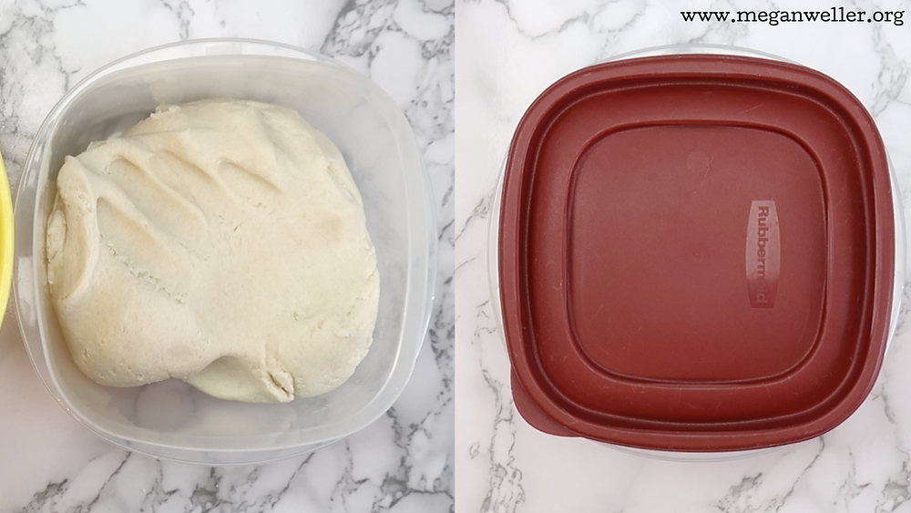 You can store leftover salt dough in an airtight container for up to a week in the fridge.