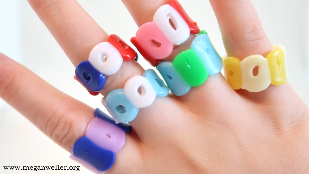 Melted pony bead rings made with a hair straightener flat iron, things to do when you're bored, easy crafts, diy jewelry.