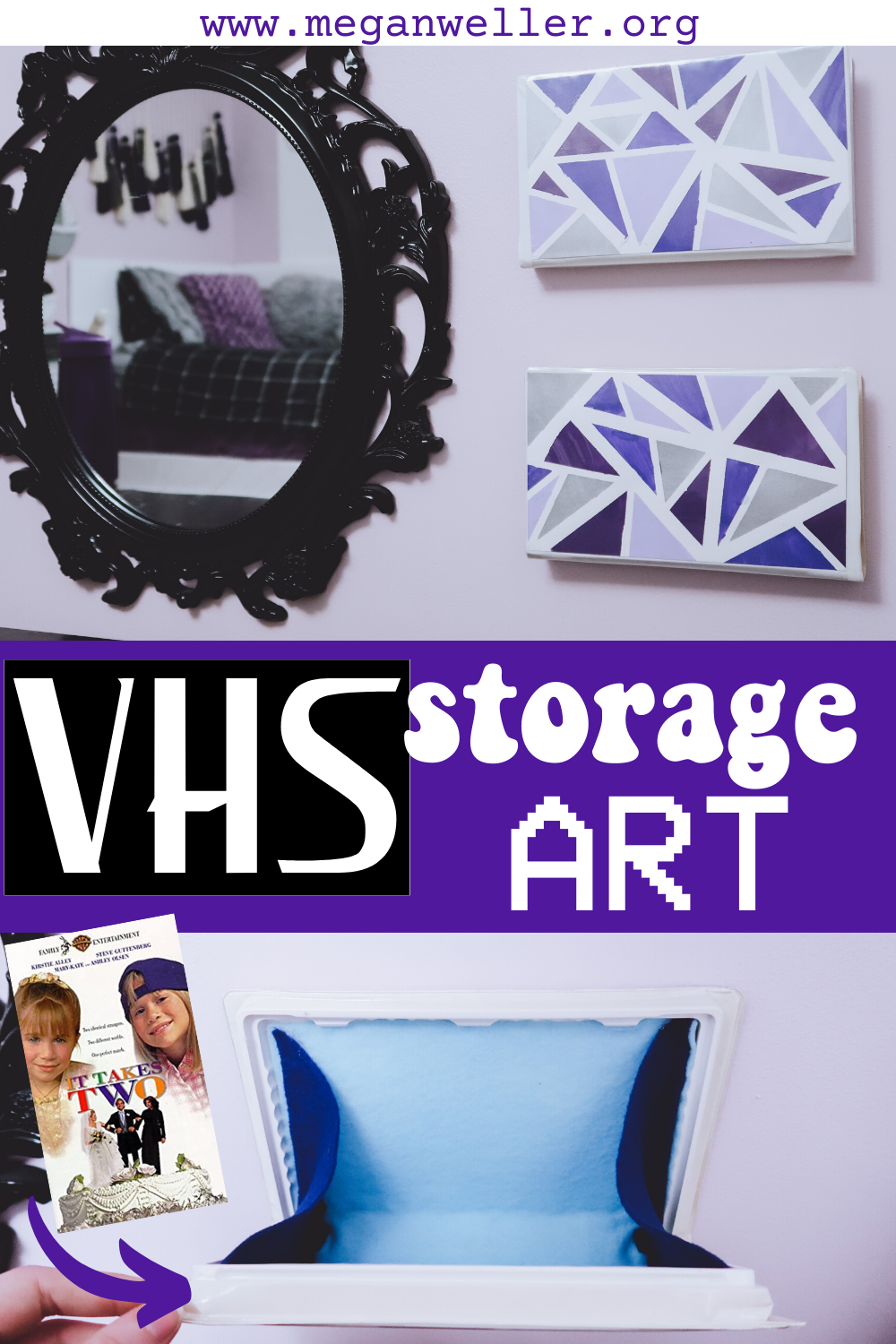 "Recycled VHS tape storage wall art pin. Decorated with triangle tape art, featuring the movie ""It Take Two"". Easy up cycled vanity storage!"