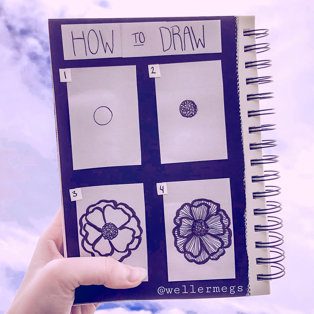 How to draw a flower, easy doodle tutorial for beginners.