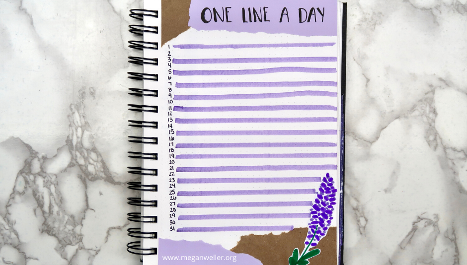 "Bullet Journal ""One Line a Day"" page (ripped paper and lavender theme)"