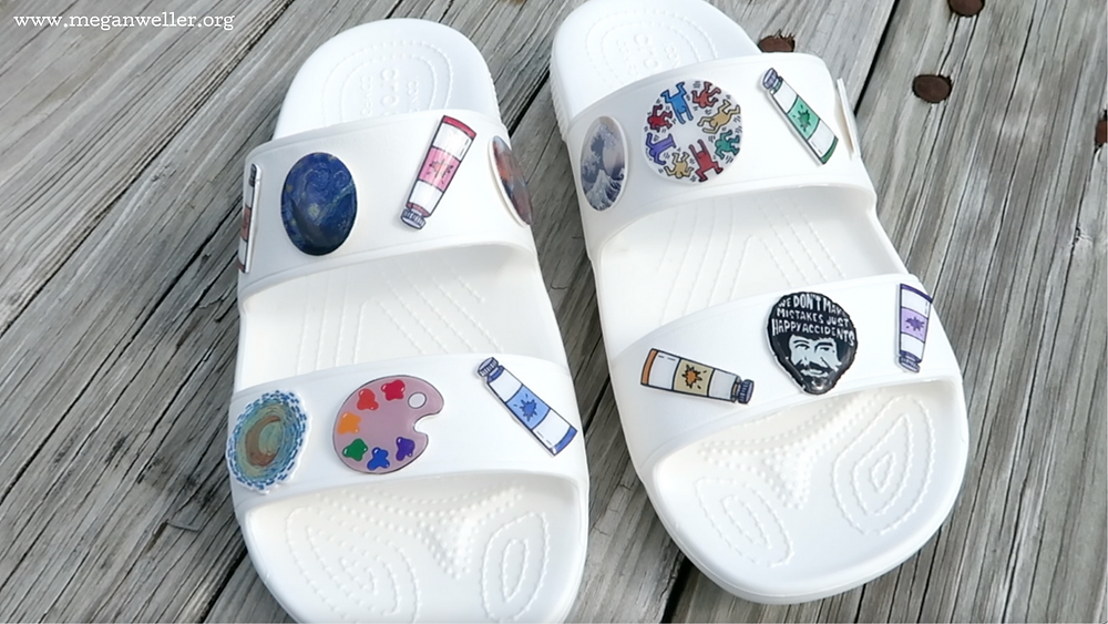 How to make Jibbitz (crocs charms) using Shrinky Dinks. Art themed Jibbitz set featuring Bob Ross, Keith Haring, Van Gough, Monet, the Great Wave, paint tubes, and a paint palette.