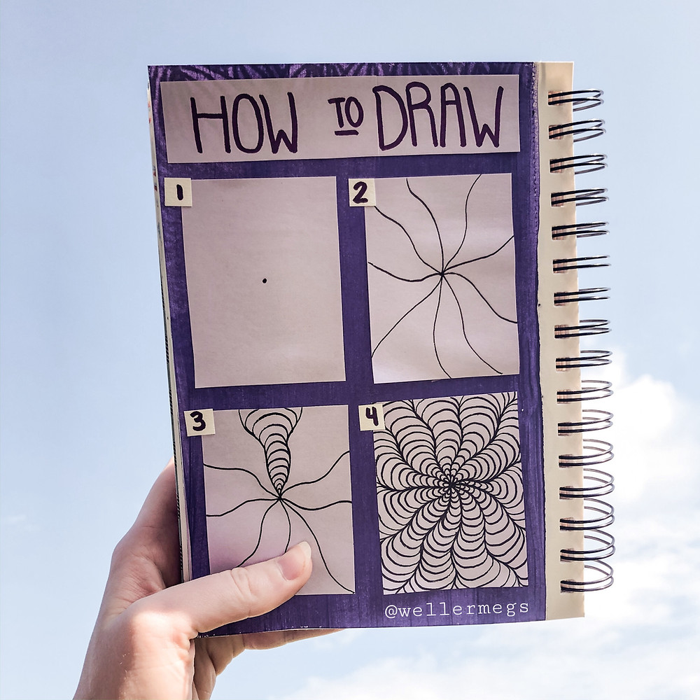 How to draw a spiral zentangle doodle, drawing ideas to try when you're bored.