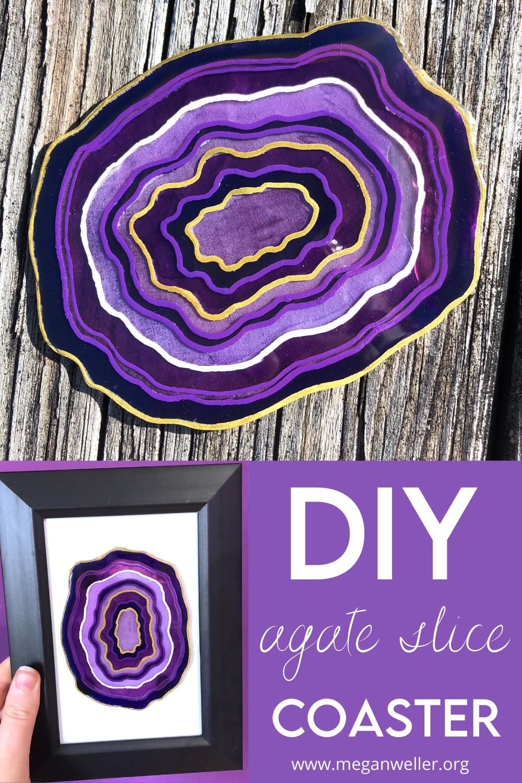 DIY Geode/ Agate Slice coaster Pinterest Graphic