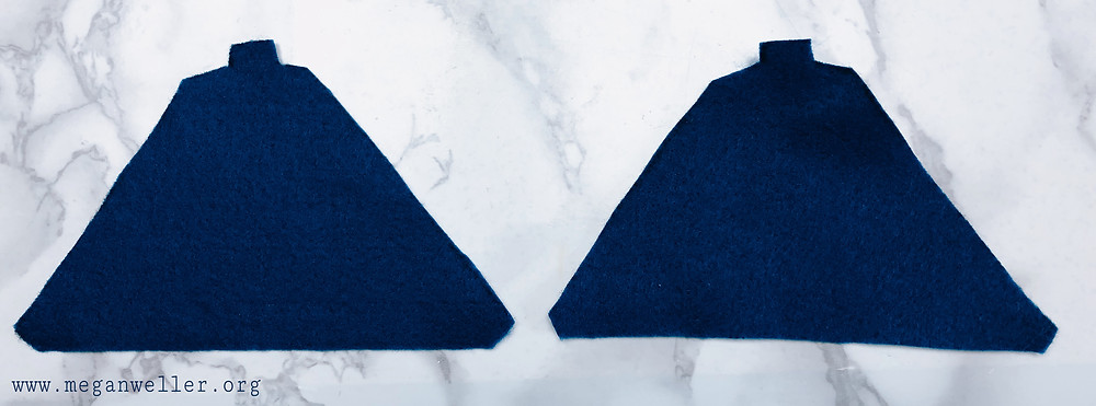 Cut two triangle shaped pieces of felt using the pattern you just made.