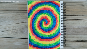 Finished tie dye painting, the perfect craft for summer!