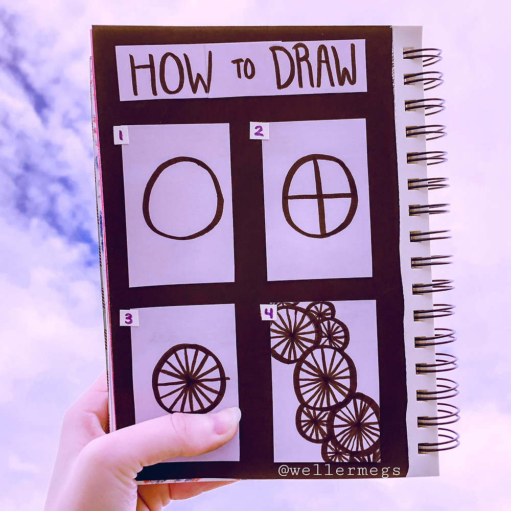 """How to draw/doodle """"wagon wheels"""", easy drawing ideas."""