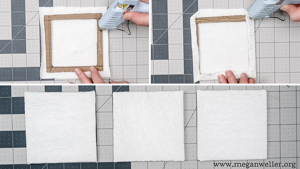 Cover the cardboard frames with white fabric. Use hot glue to attach it.