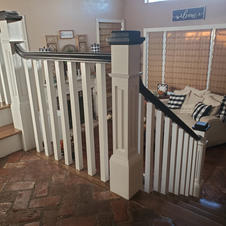 Construction remodeling project - detailed Craftsmen newels with black accents