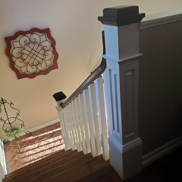 Construction remodeling project - black-topped Newel