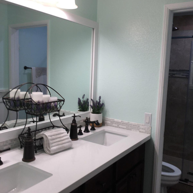 Construction remodeling project giving a fresh clean look to this bathroom
