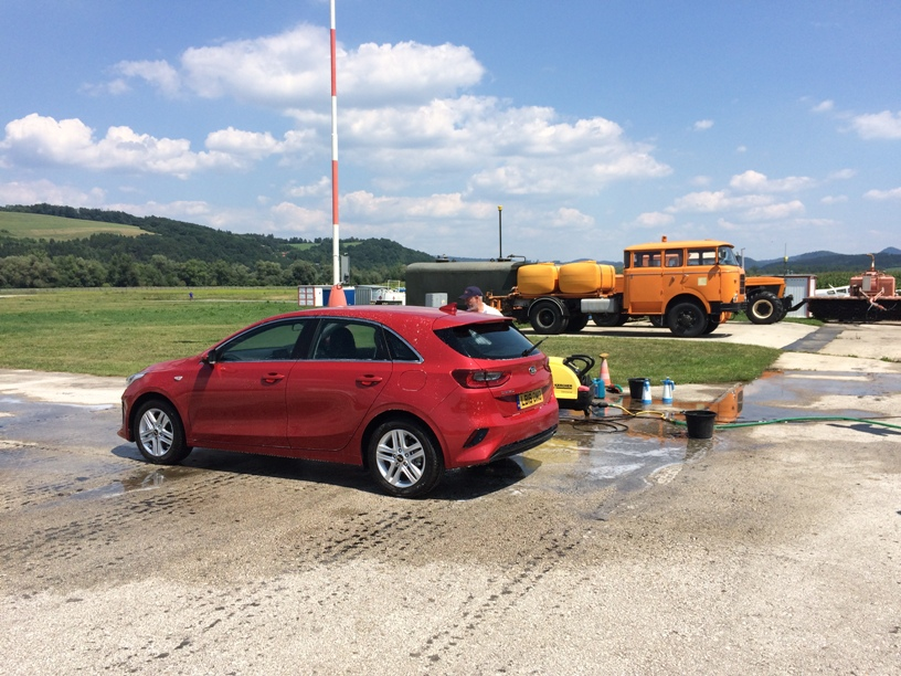 Vehicle valeting on the runway