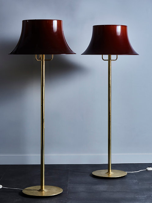 Pair of Hans Agne Jakobsson G 199 Floor Lamps in Brass and Brown Acrylic Shades
