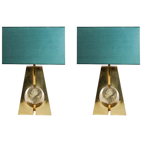 Pair of Brass and Fractal Resin Table Lamps