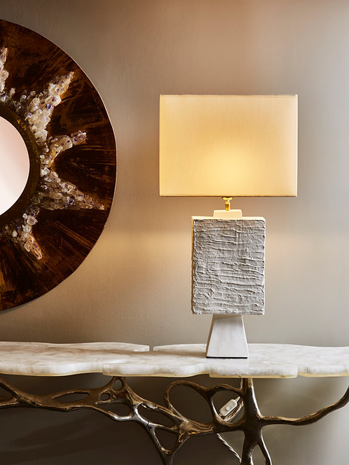 Pair of Plaster Rectangular Table Lamps