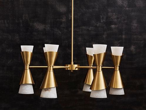 Brass Chandelier with alabaster Cones by Glustin Luminaires
