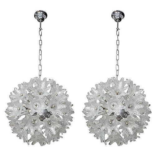 Pair of Chrome and Murano Glass Ball Chandeliers