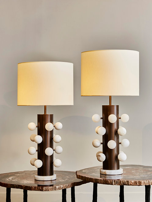 Pair of Light Bronze Finish Brass Table Lamps with Alabaster Spheres