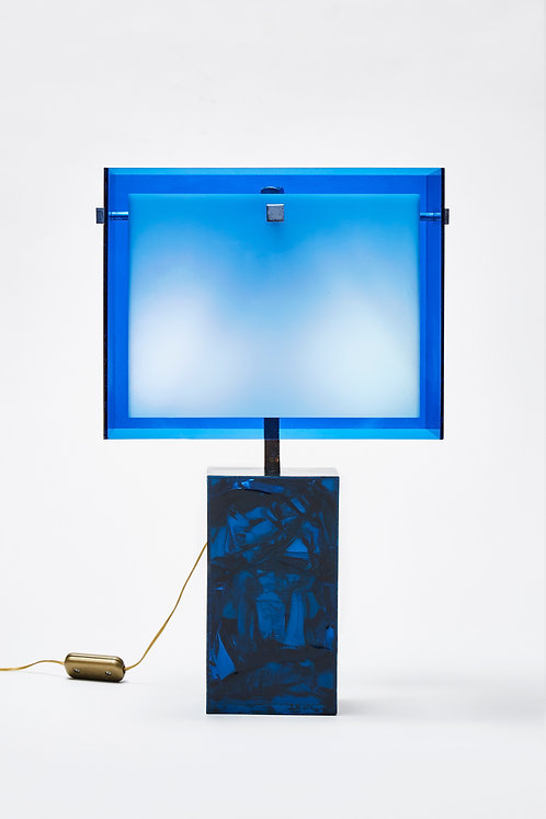 Small Fractal Resin and Plexiglass Blue Table Lamp by Marie Claude De Fouquieres