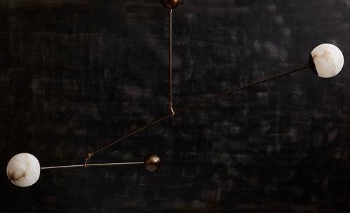 Brass and Alabaster Mobile Chandelier by Glustin Luminaires