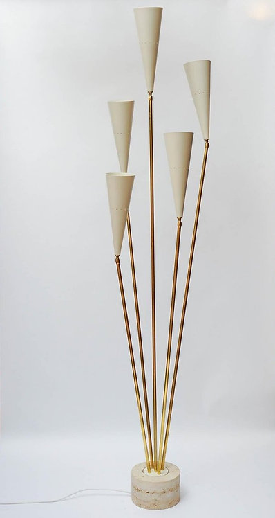 Travertin and Brass Midcentury Style Floor Lamp by Diego Mardegan