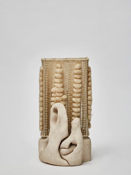 Ceramic Table Lamp with Hand Weaved Wool Shade