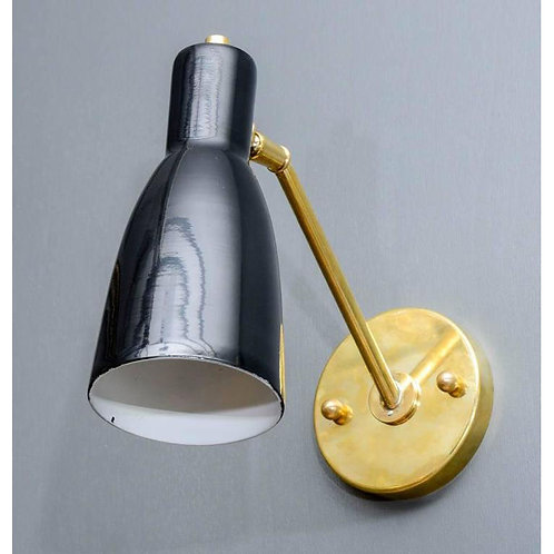 Small Brass and Black Enameled Cones Wall Sconces