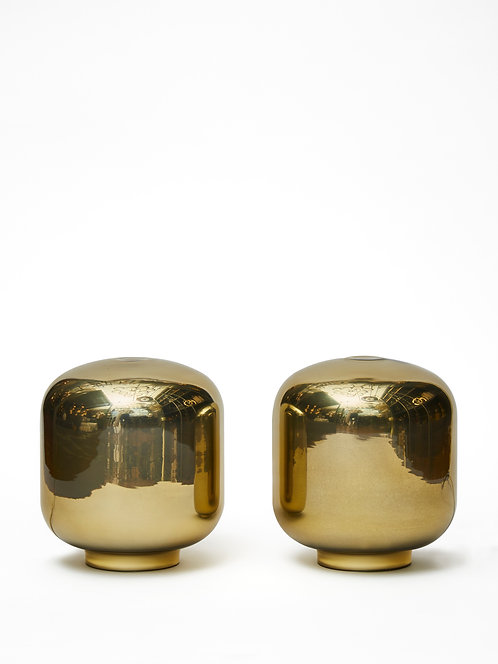 Pair of Small Gold Glass Table Lamps