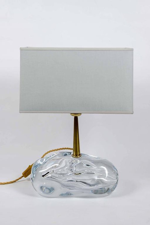 Pair of Sassone Glass and Brass Angelo Brotto for Esperia Table Lamps