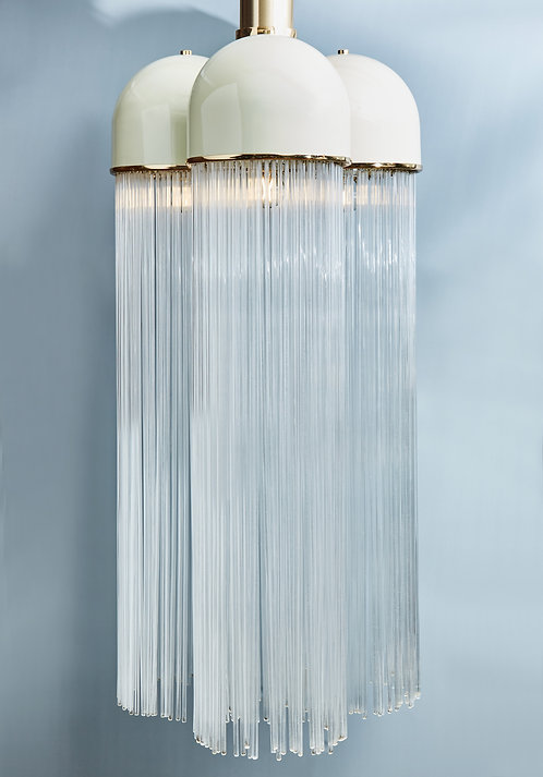 Vintage Angelo Brotto for Esperia Chandelier in Enameled Metal with Glass Rods