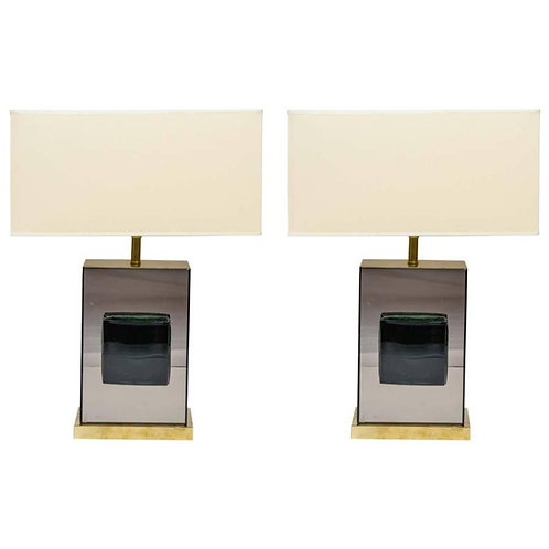 Pair of Table Lamps in Mirrors