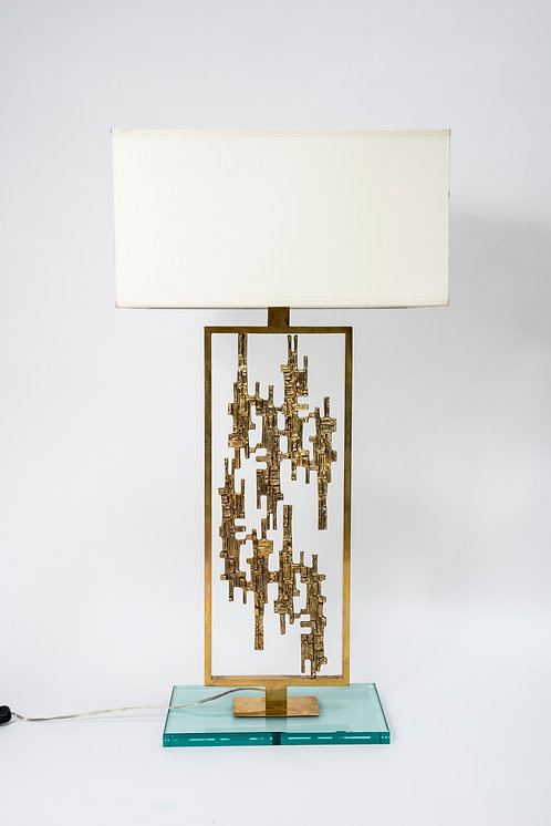 Pair of Brass Body and Glass Feet Table Lamps