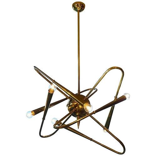 Unusual Brass Sputnik Chandelier
