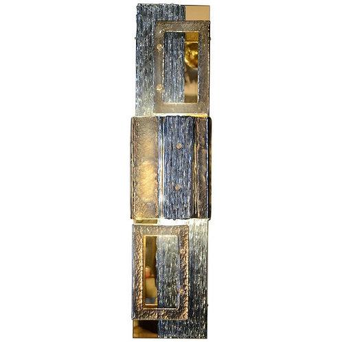 Glustin Luminaires Creation Brass and Murano Glass Panels