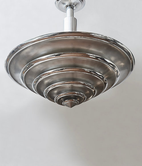 Conical Brushed and Polished Metal Chandelier