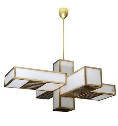 Glustin Luminaires Creation Geometrical Brass and Alabaster Chandeliers