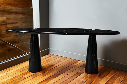 Pair of Eros Black Marble Angelo Mangiarotti Console Tables
