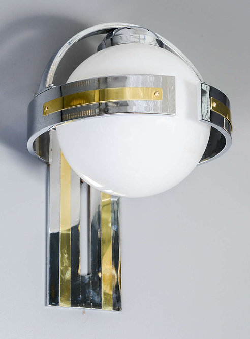 Set of Metal and Glass Wall Sconces
