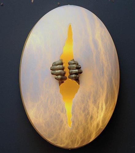 Glustin Luminaires Creation Alabaster and Brass Hands Wall Sconces