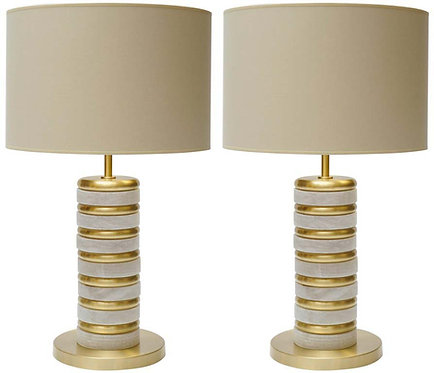 Glustin Luminaires Creation Pair of Alabaster and Brass Rings Table Lamps