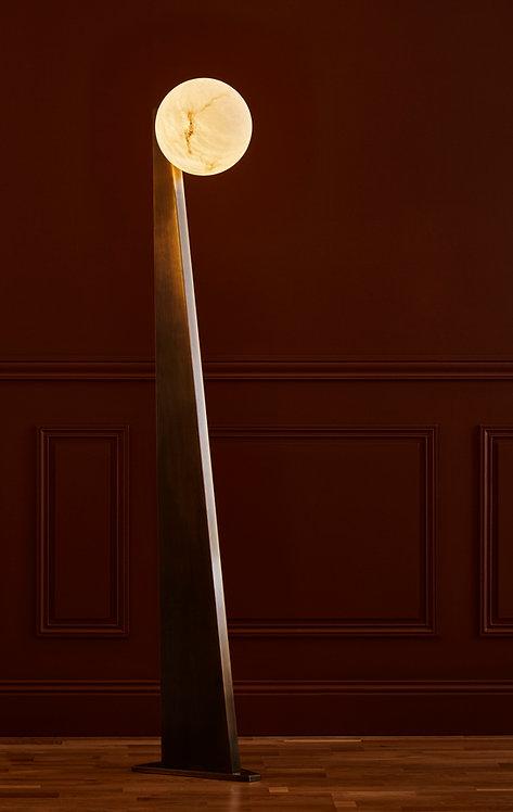 Glustin Luminaires Creation Floor Lamp in Brass with Alabaster Globe