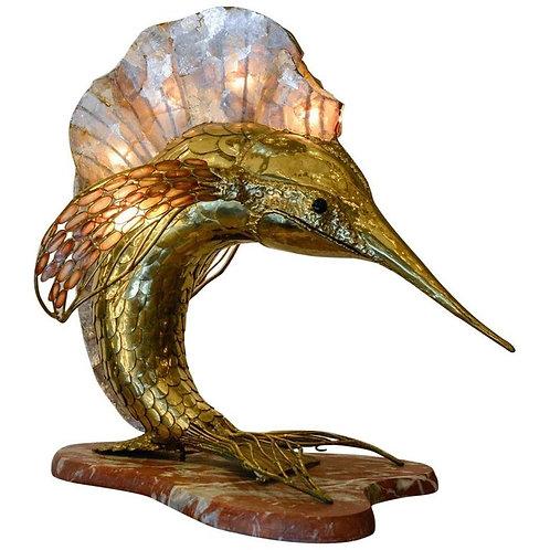 Unique Brass Mica and Marble Swordfish Lightning Sculpture