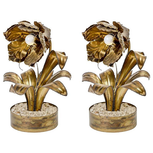 Pair of Vintage Flower Table Lamps by Maison Jansen