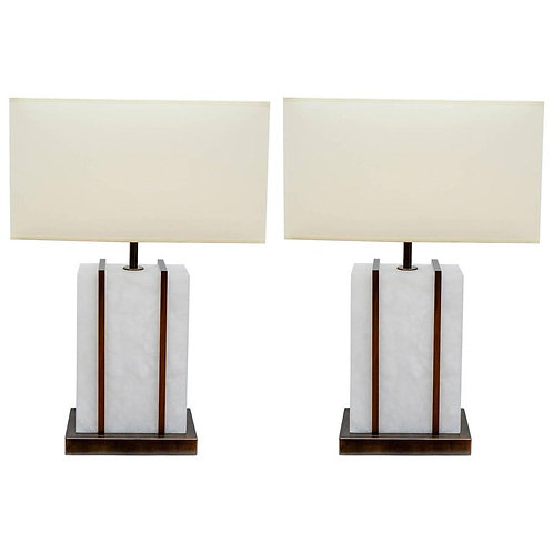 Glustin Luminaires Creation Pair of Brass and Alabaster Cage Table Lamps