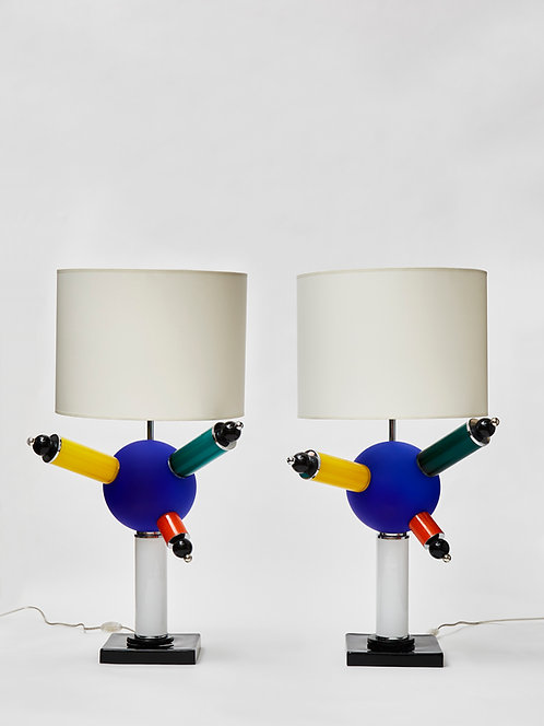 Pair of Colorful Round Murano Glass Table Lamps