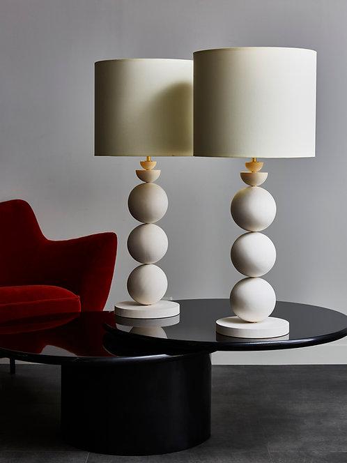 Pair of Geometric Plaster Table Lamps