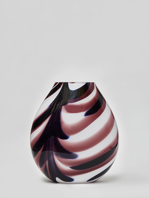 White Murano Glass Vase with Purple Streaks