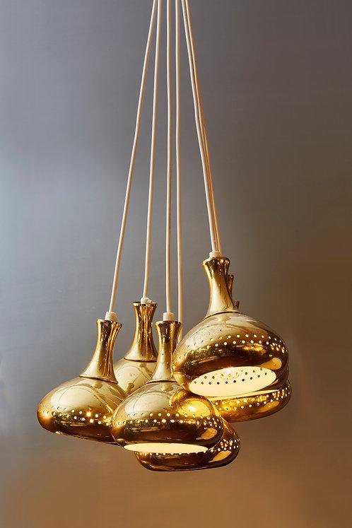 Seven Hans Agne Jakobsson Vintage Brass Pendants